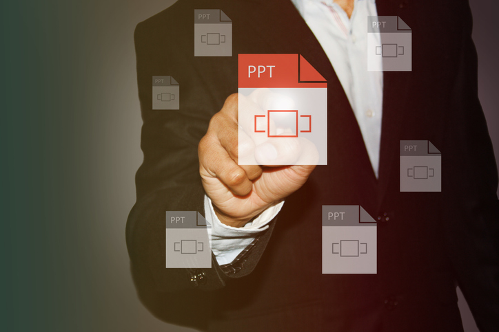 Businessman Touch the screen for select presentation