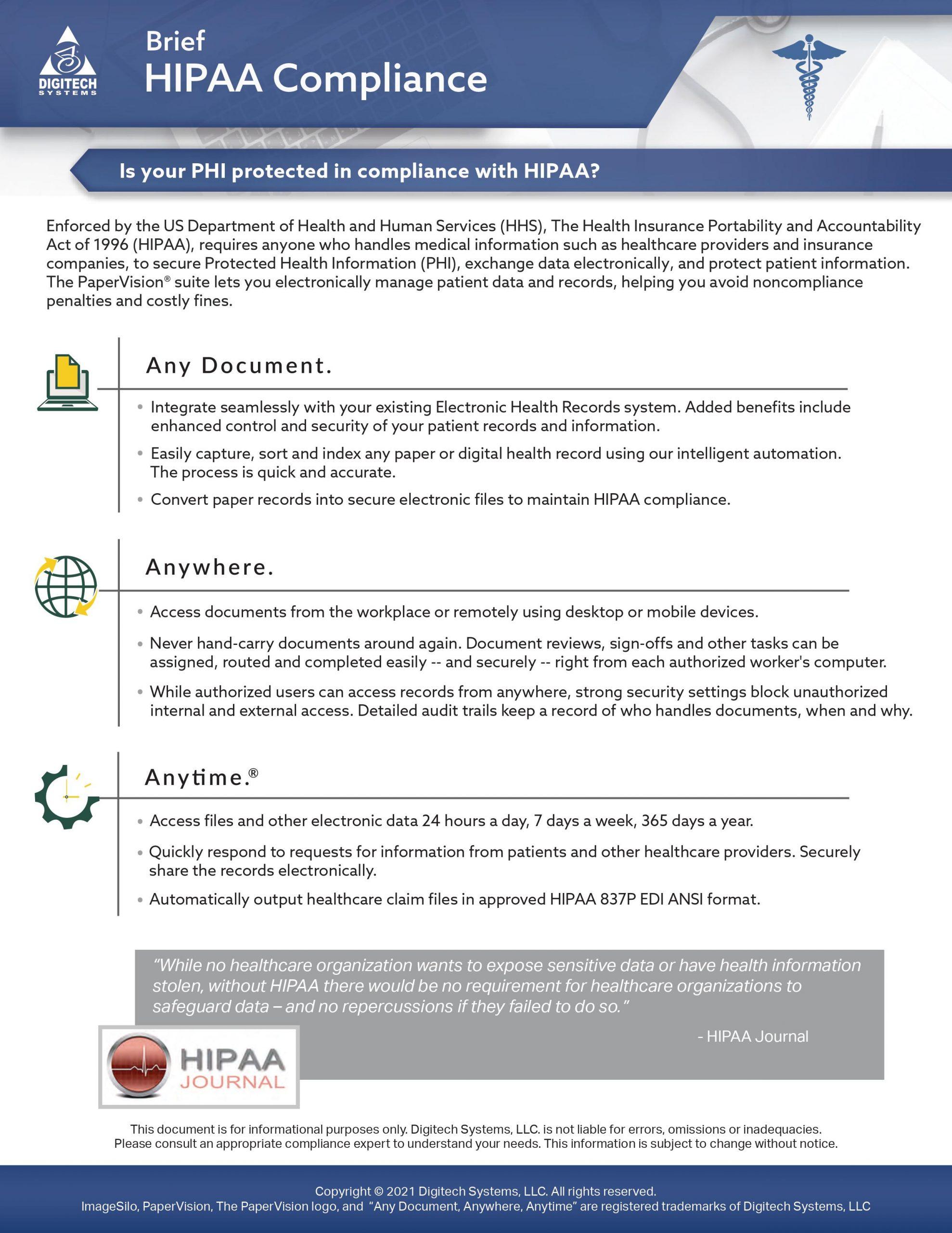 hipaa compliance brief - product image